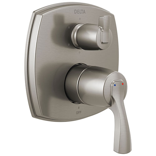 Delta Stryke Stainless Steel Finish 14 Series Shower System Control with Integrated 6 Function Lever Handle Diverter Includes Valve and Handles D3173V