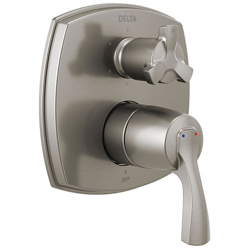 Delta Stryke Stainless Steel Finish 14 Series Shower System Control with Integrated 6 Function Cross Handle Diverter Includes Valve and Handles D3174V