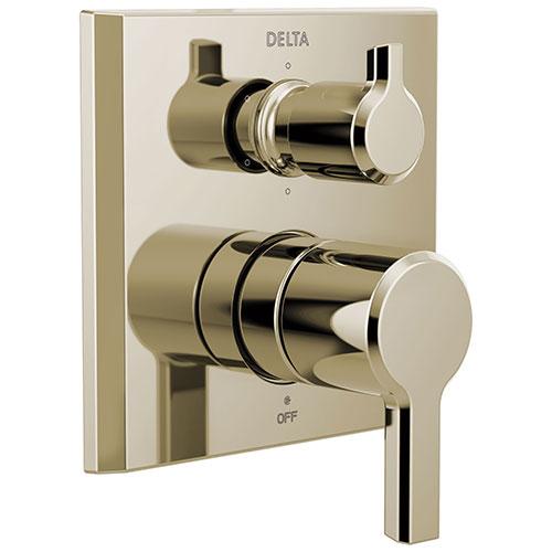 Delta Pivotal Polished Nickel Finish 14 Series Integrated 6 Function Diverter Modern Shower System Control Includes Valve and Handles D3168V