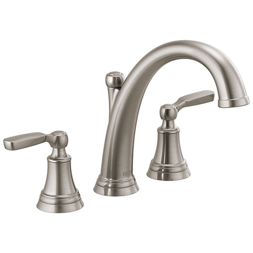 Delta Woodhurst Stainless Steel Finish Roman Tub Filler Faucet Trim Kit (Requires Valve) DT2732SS