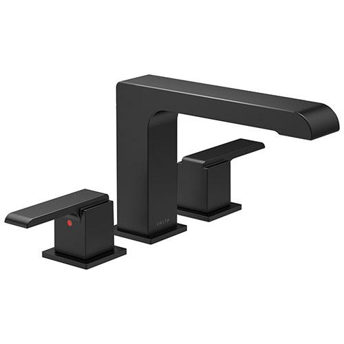 Delta Ara Matte Black Finish Modern Roman Tub Filler Faucet Includes Lever Handles and Rough-in Valve D3621V