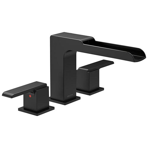 Delta Ara Matte Black Finish Roman Tub Filler Faucet with Channel Spout Trim Kit (Requires Valve) DT2768BL