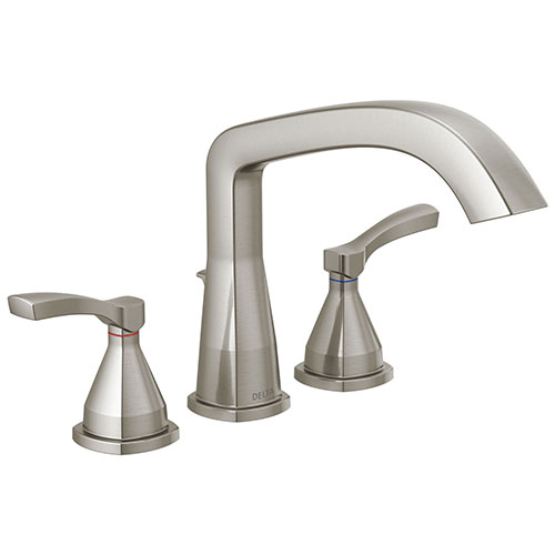 Delta Stryke Stainless Steel Finish Three Hole Roman Tub Filler Faucet Trim Kit (Requires Valve) DT2776SS