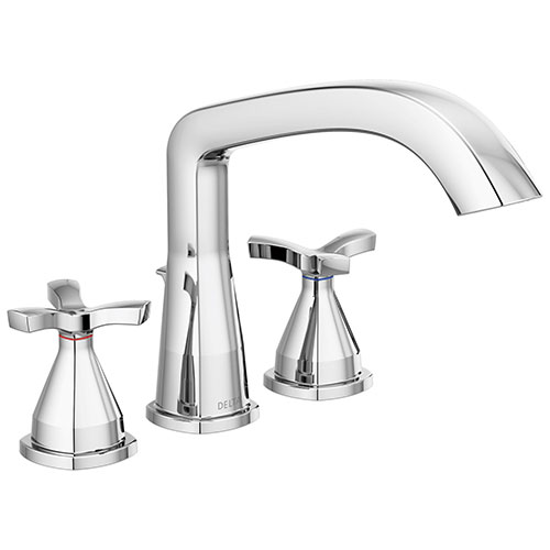 Delta Stryke Collection Chrome Finish Three Hole Roman Tub Filler Faucet Includes Rough-in Valve and Helo Cross Handles D3161V