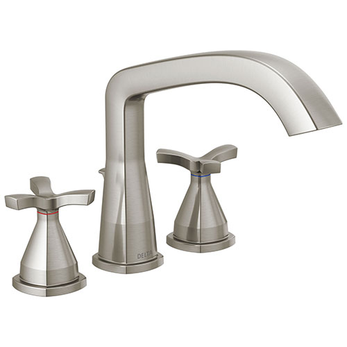 Delta Stryke Collection Stainless Steel Finish Three Hole Roman Tub Filler Faucet Includes Rough-in Valve and Helo Cross Handles D3158V