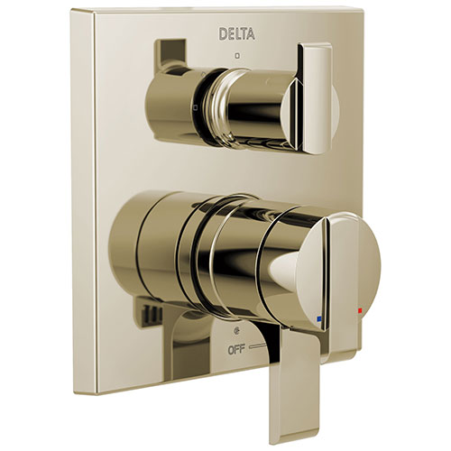 Delta Ara Polished Nickel Finish Angular Modern 17 Series Shower Faucet Control with 3-Setting Integrated Diverter Includes Valve and Handles D3733V