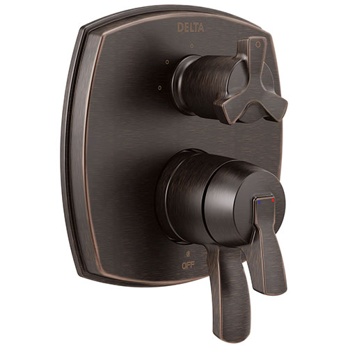 Delta Stryke Venetian Bronze Finish 17 Series Integrated 3-Function Cross Handle Diverter Shower System Control Includes Valve and Handles D3726V