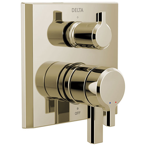 Delta Pivotal Polished Nickel Finish Monitor 17 Series Shower System Control with 3-Setting Diverter Includes Rough-in Valve and Handles D3718V