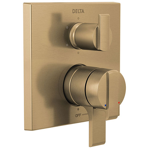 Delta Ara Champagne Bronze Finish Angular Modern 17 Series Shower System Control with 6-Setting Integrated Diverter Includes Valve and Handles D3713V