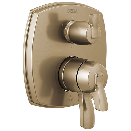 Delta Stryke Champagne Bronze Finish 6 Function Lever Handle Integrated Diverter 17 Series Shower System Control Includes Valve and Handles D3125V
