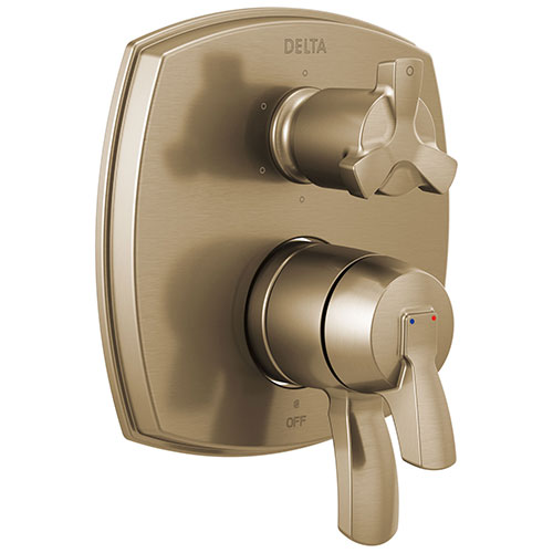 Delta Stryke Champagne Bronze Finish 6 Function Cross Handle Integrated Diverter 17 Series Shower System Control Includes Valve and Handles D3709V