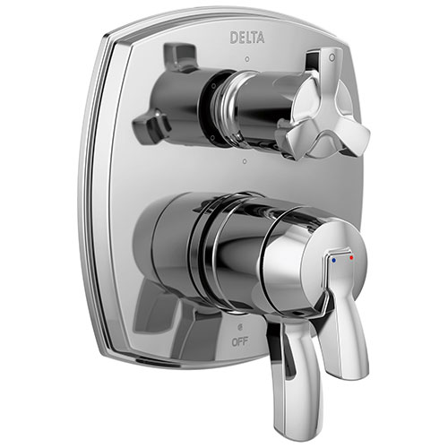 Delta Stryke Chrome Finish 6 Function Cross Handle Integrated Diverter 17 Series Shower System Control Includes Valve and Handles D3124V