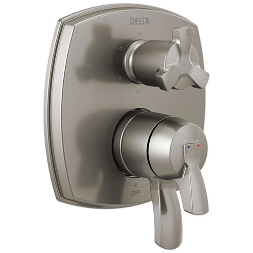 Delta Stryke Stainless Steel Finish 6 Function Cross Handle Integrated Diverter 17 Series Shower System Control Includes Valve and Handles D3120V