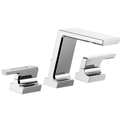 Delta Pivotal Modern Chrome Finish Deck Mount Roman Tub Filler Faucet Includes Handles and Rough-in Valve D3118V