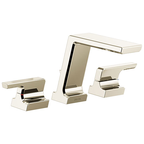 Delta Pivotal Modern Polished Nickel Finish Deck Mount Roman Tub Filler Faucet Includes Handles and Rough-in Valve D3110V