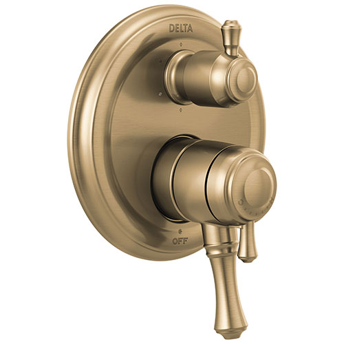 Delta Cassidy Champagne Bronze Finish Monitor 17 Series Shower System Control with 6-Setting Diverter Includes Rough-in Valve and Handles D3701V