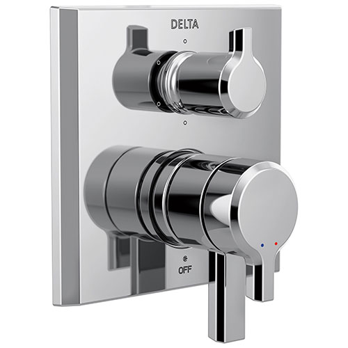 Delta Pivotal Chrome Finish Monitor 17 Series Shower Control Trim Kit with 6-Setting Diverter (Requires Valve) DT27999
