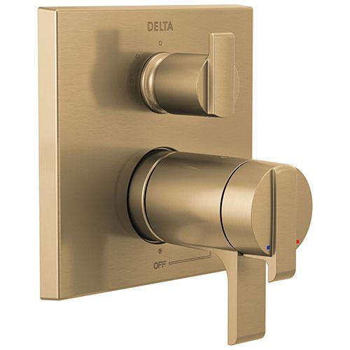 Delta Ara Champagne Bronze Finish Angular Modern TempAssure 17T Series Shower Control Trim Kit with 3-Setting Integrated Diverter (Requires Valve) DT27T867CZ