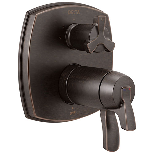 Delta Stryke Venetian Bronze Finish 3-setting Integrated Cross Handle Diverter Thermostatic Shower System Control Includes Valve and Handles D3097V
