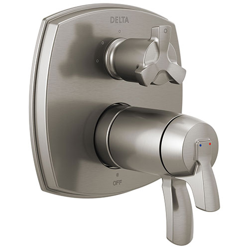 Delta Stryke Stainless Steel Finish 3-setting Integrated Cross Handle Diverter Thermostatic Shower System Control Includes Valve and Handles D3682V