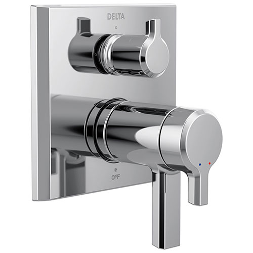 Delta Pivotal Modern Chrome Finish Thermostatic Shower System Control with 3-Setting Integrated Diverter Includes Valve and Handles D3091V