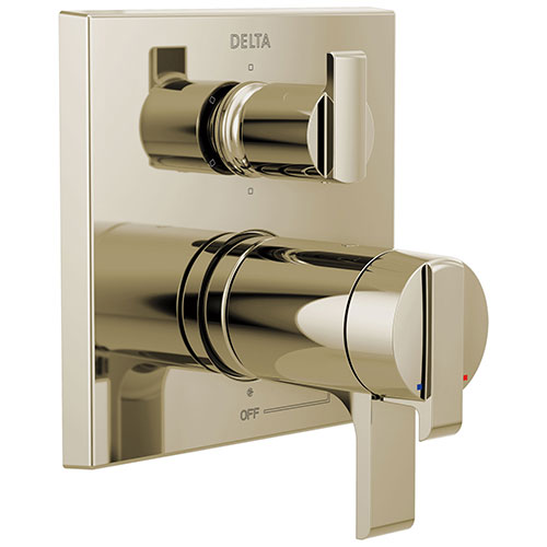 Delta Ara Polished Nickel Finish Modern Thermostatic Shower System Control with 6-Setting Integrated Diverter Includes Rough Valve and Handles D3083V
