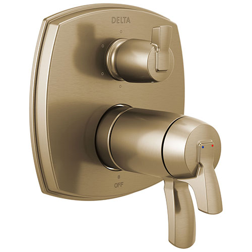 Delta Stryke Champagne Bronze Finish 17T Thermostatic Shower System Control with 6 Function Integrated Diverter Includes Valve and Handles D3666V