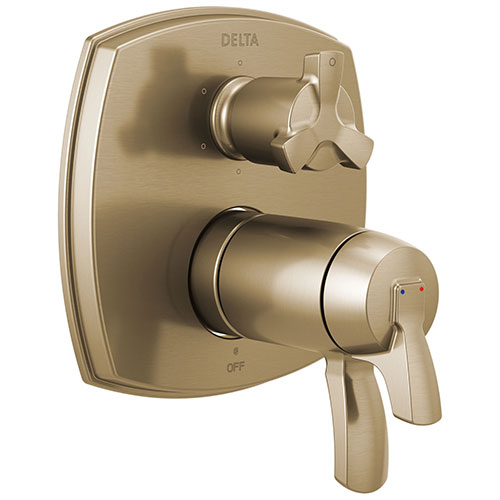 Delta Stryke Champagne Bronze Thermostatic Shower System Control with 6 Setting Integrated Cross Handle Diverter Includes Valve & Handles D3667V