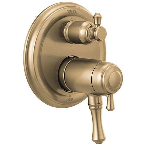 Delta Cassidy Champagne Bronze Finish Thermostatic 17T Shower System Control with 6-Setting Integrated Diverter Includes Valve and Handles D3072V