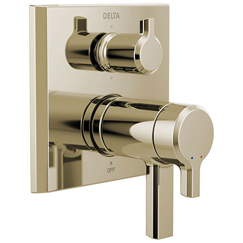 Delta Pivotal Polished Nickel Finish Thermostatic 17T Shower System Control with 6-Setting Integrated Diverter Includes Rough Valve and Handles D3068V