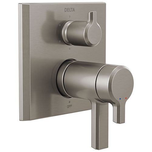 Delta Pivotal Stainless Steel Finish Thermostatic 17T Shower System Control with 6-Setting Integrated Diverter Includes Rough Valve and Handles D3067V