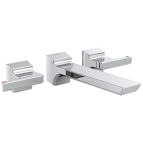 Delta Pivotal Modern Chrome Finish Two-Handle Wall Mount Bathroom Sink Faucet Includes Rough-in Valve D3055V