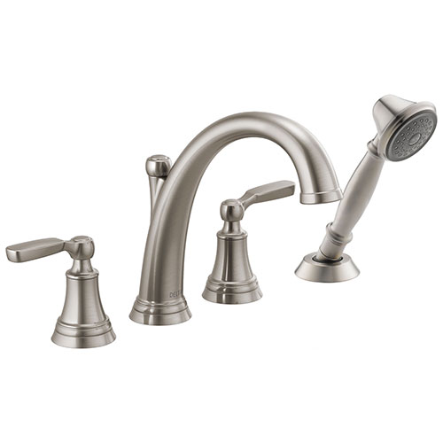Delta Woodhurst Stainless Steel Finish Roman Tub Filler Faucet Trim Kit with Hand Shower (Requires Valves) DT4732SS