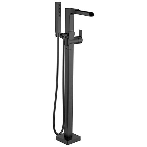 Delta Ara Matte Black Finish Single Handle Floor Mount Channel Spout Tub Filler Faucet with Hand Shower Trim Kit (Requires Valve) DT4768BLFL