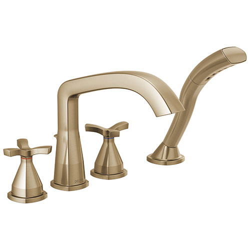 Delta Stryke Champagne Bronze Finish Helo Cross Handle Deck Mount Roman Tub Filler Faucet with Hand Shower Includes Rough-in Valve D3046V