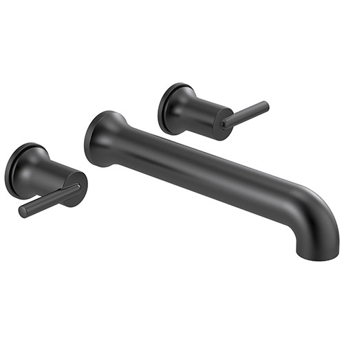 Delta Trinsic Modern Matte Black Finish Two Handle Wall Mount Tub Filler Faucet Includes Rough-in Valve D3028V